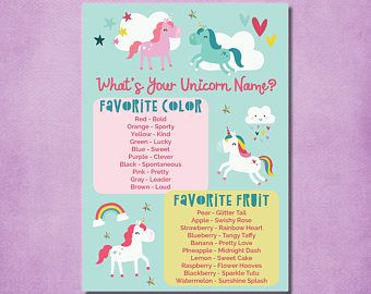 Unicorn Name Game, Unicorn Party Game, Printable  What's Your Unicorn Name  Birthday Party Poster, 8x10 PDF INSTANT DOWNLOAD - Unicorn games, Slumber party games, Unicorn names, Unicorn birthday, Unicorn party, Rainbow unicorn party - unicorncupcakewrapperstoppers Convo me about your custom coordinating party decorations!  You will receive 1 PDF file  The file is available for instant download after you complete the order  Customization and coordinating items may be ordered separately, please convo me with your requests  IMPORTANT NOTES No physical prints or decorations are included  You will receive 1 digital file which you may print for personal use at home or at a commercial printer (such as Office Depot, Staples, etc )  FOR PERSONAL USE ONLY  FILES MAY NOT BE SHARED OR RESOLD  Due to the digital delivery of this item, no refunds can be accepted  Artwork and photos are COPYRIGHT of I Watch Them Grow Shop