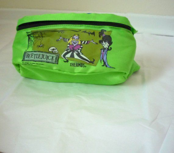 beetlejuice fannypack- vintage thermos cartoon zippered pack