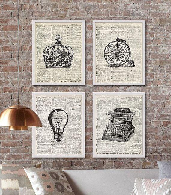 Four Dictionary Page Art Prints Vintage Decor Rustic Crown Print Living Room Bike Old Typewriter Lightbulb