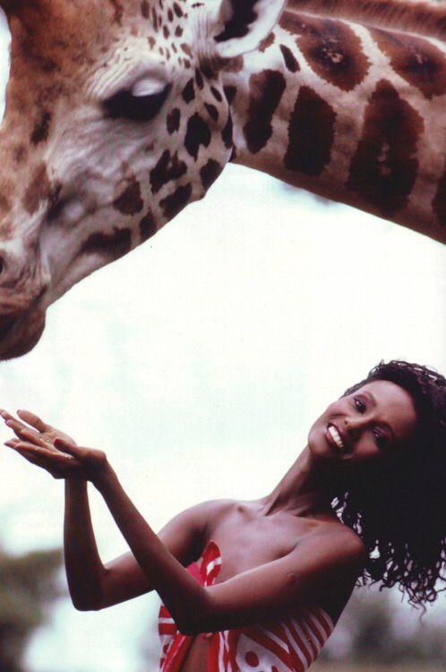 Iman with giraffe | Giraffe, Iman, Animals