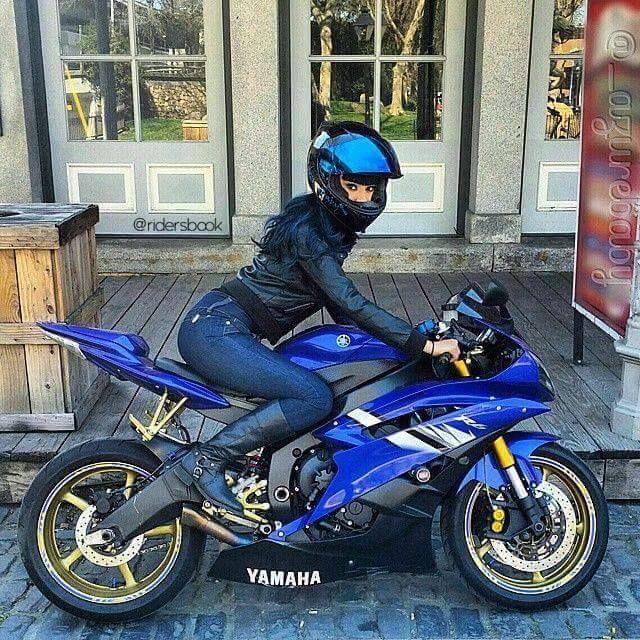 Biker girl on Yamaha R6