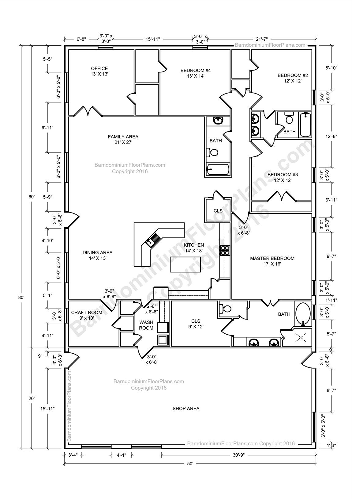 Barndominium floor plans pole barn house plans and metal for Barn house floor plans