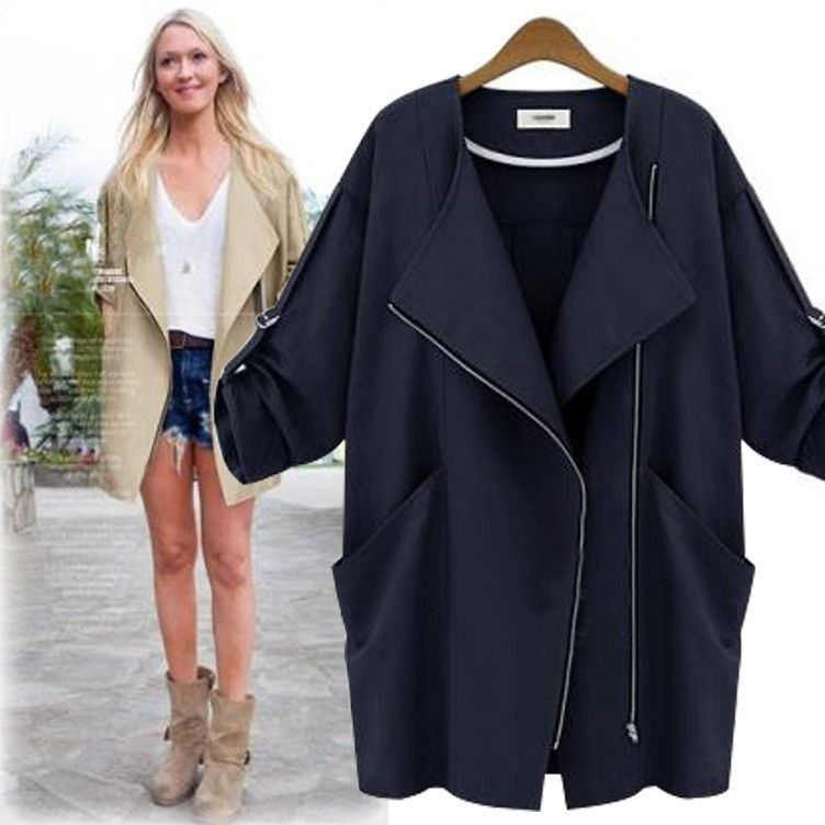 e4adcfdc83c British style fashion long trench coat street plus size navy blue  windbreaker women 2016 solid pocket