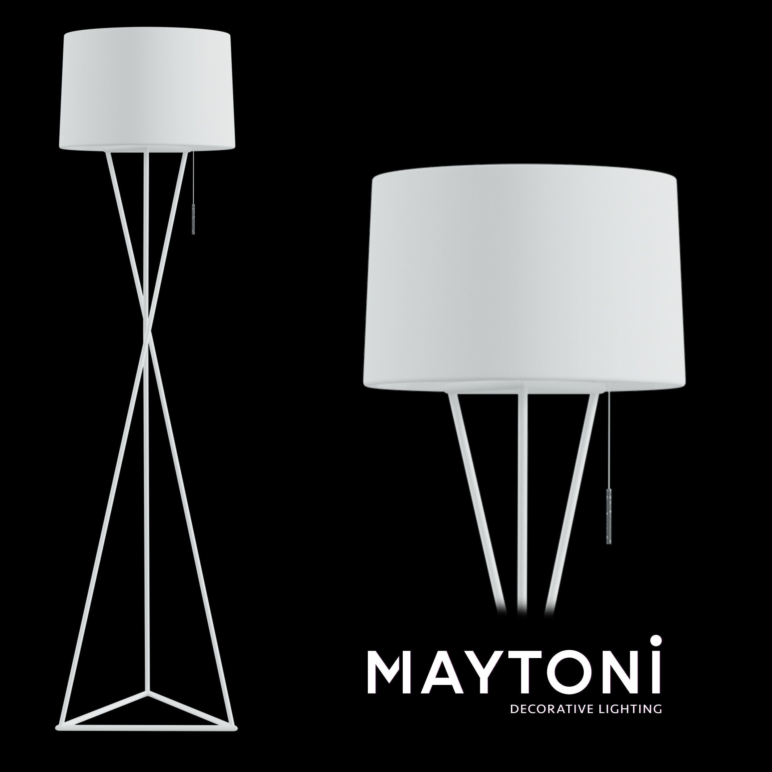 Floor Lamp Gaudi Mod183 Fl 01 W Maytoni Modern 3d Model In 2020 White Lamp Shade Floor Lamp Lamp