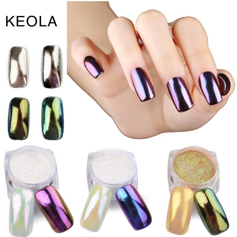 AZAD 1g/pot 11 Colores de Uñas Glitter Powder Espejo Mágico Efecto ...