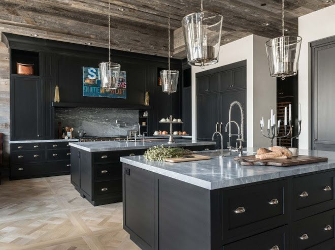 Rustic farmhouse kitchen with black cabinets and reclaimed for Kitchen design zurich