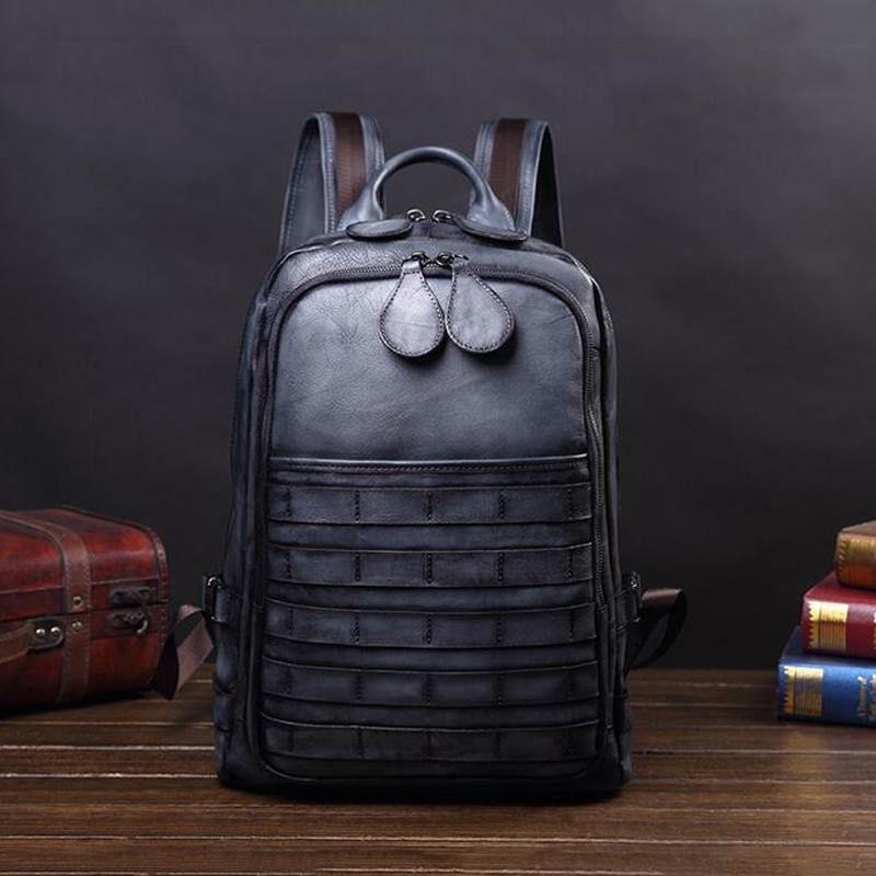 Detroit Full Grain Leather Backpack - Vintage Gray
