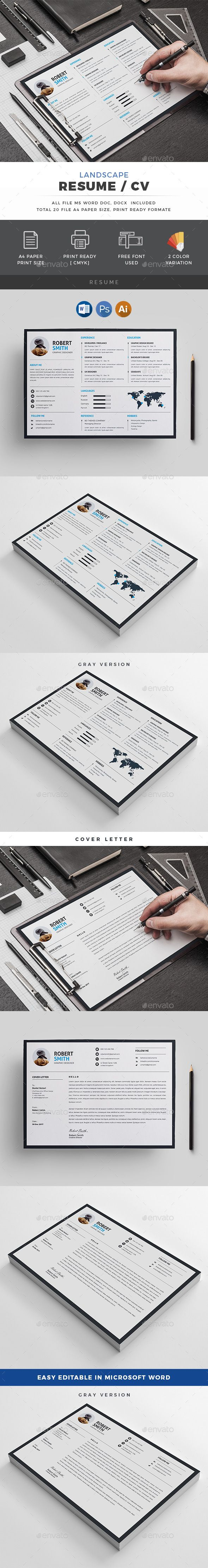 Landscape Resume | Template, Creative and Stationery design