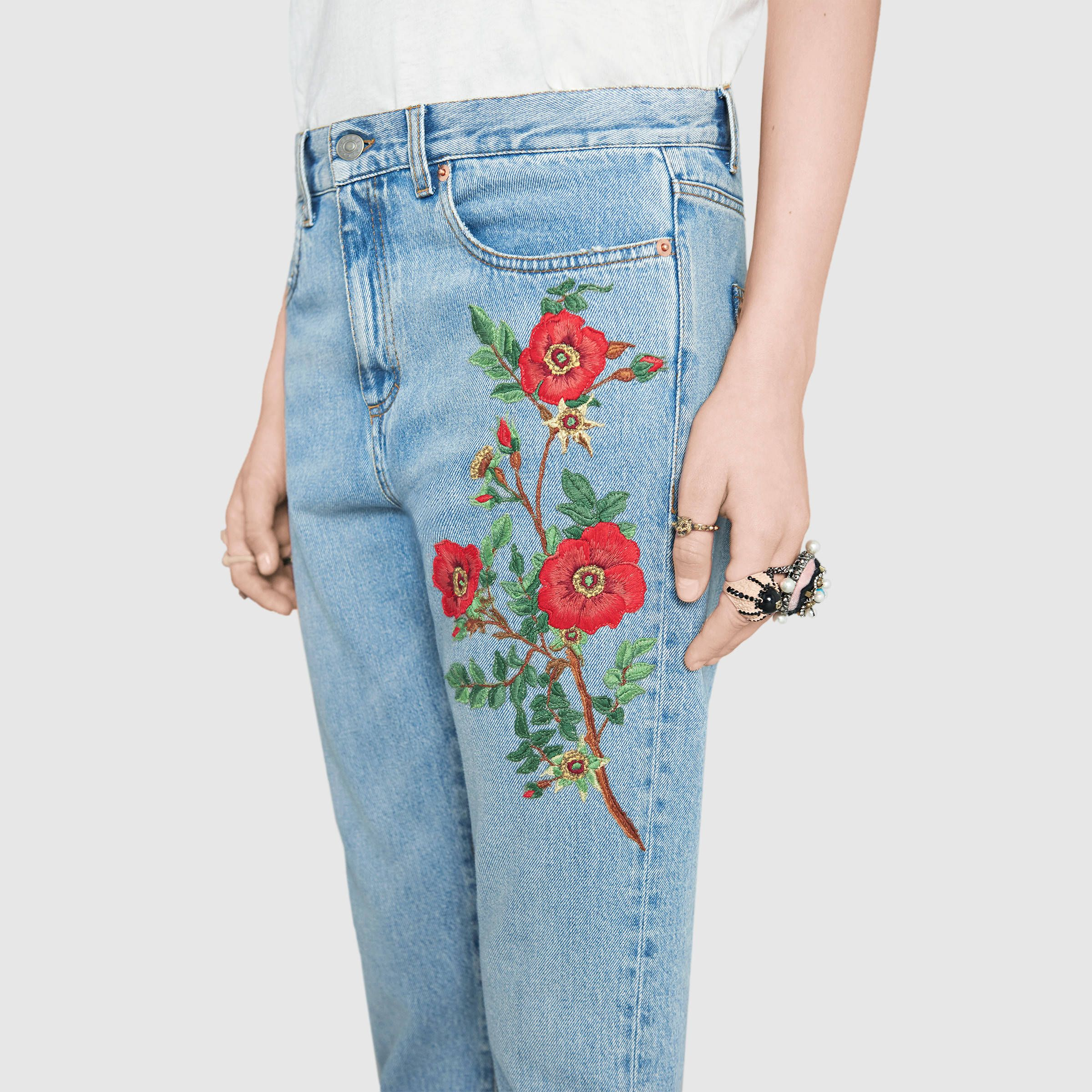 Gucci Embroidered denim pant Detail 5