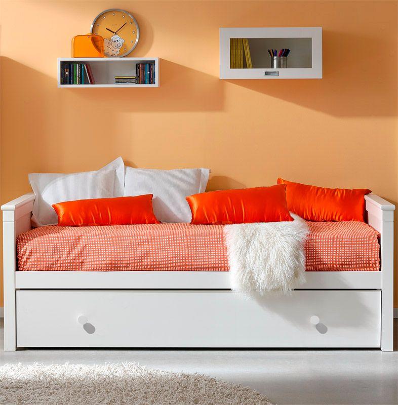 Cama nido divan blanca lacada mod sevilla camas nido for Cama divan nina