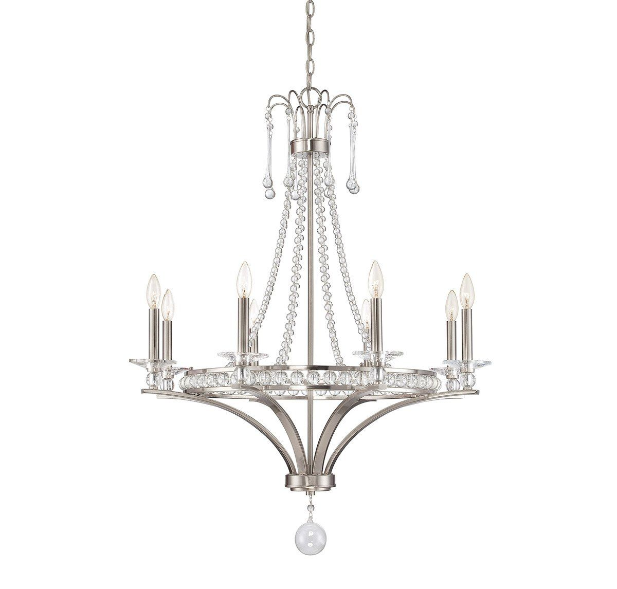 Chandeliers 8 Light With Satin Nickel Finish Candelabra