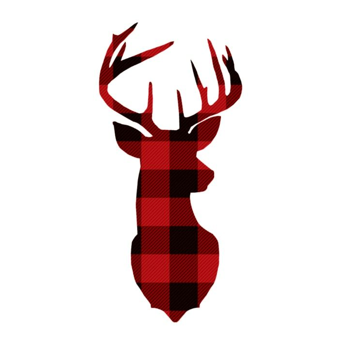 Deer head plaid. Red buffalo canvas print