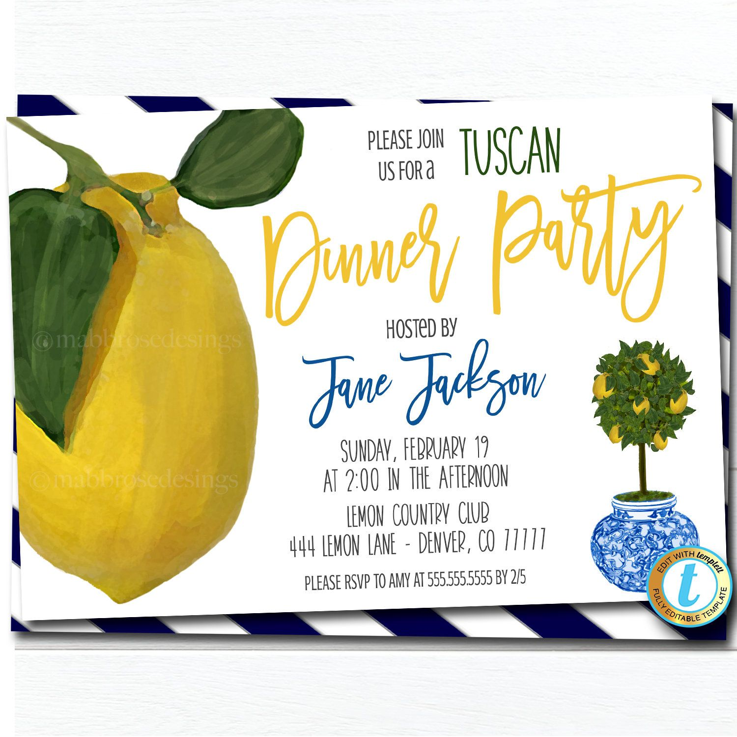 Lemon Dinner Party Invitation Mediterranean Italian Greek  Etsy