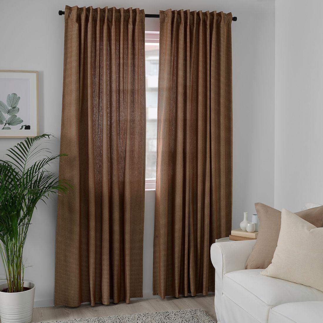 Tibast Room Darkening Curtains 1 Pair Dark Red Ikea In 2020 Room Darkening Curtains Curtains Thick Curtains