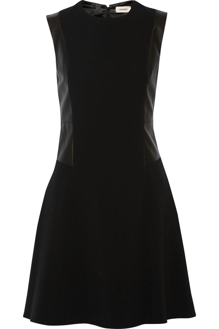 L'AGENCE Stephanie leather-paneled crepe mini dress. #lagence #cloth #dress