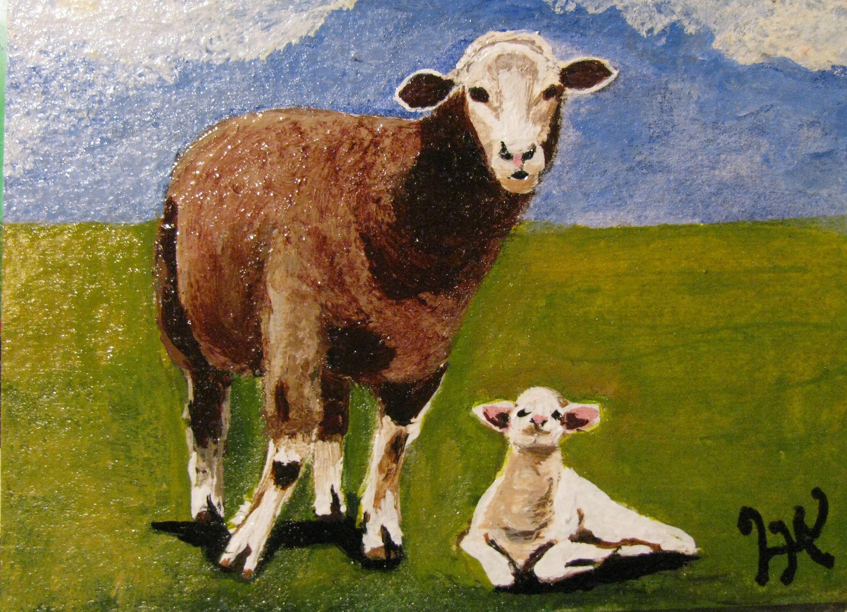 """A158 """"SHEEP & LAMB"""" ACEO $20.00  lhazell@cogeco.ca"""
