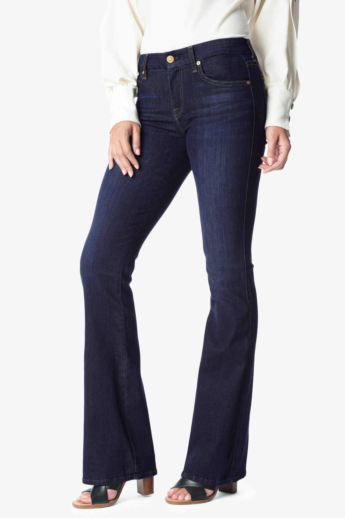 "Tailorless ""A"" Pocket Flare in Slim Illusion Tried & True Blue by 7 For All Mankind"