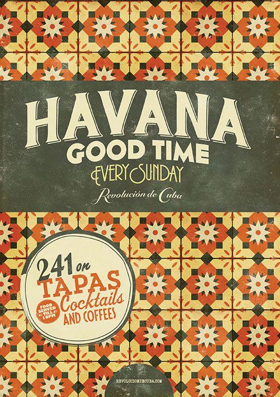 Havana Good Time Retro Cuban Graphic Design  Vintage Tile