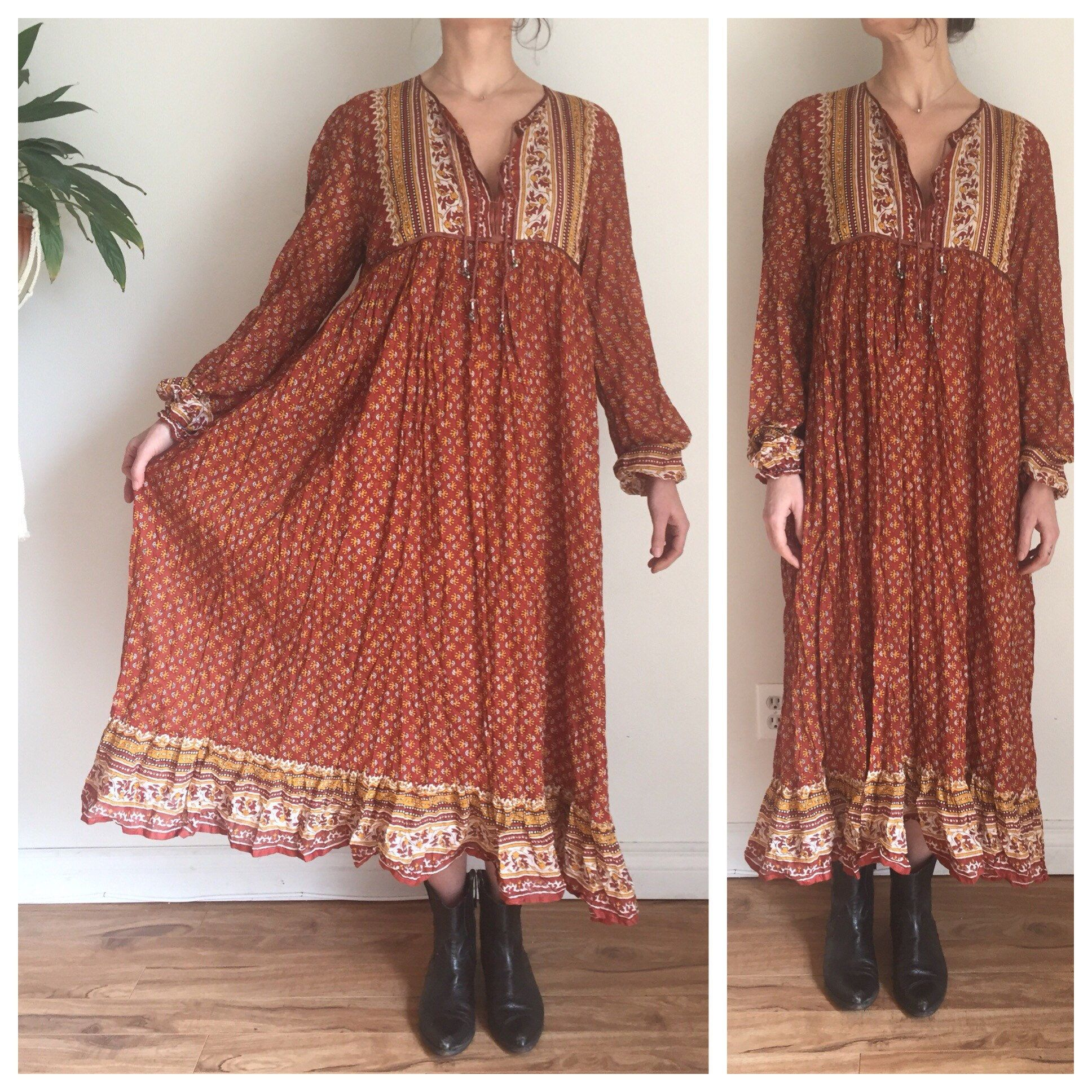 019e3405bd3 Indian Cotton Gauze Dress Vintage 70s Dress Thin Cotton Dress