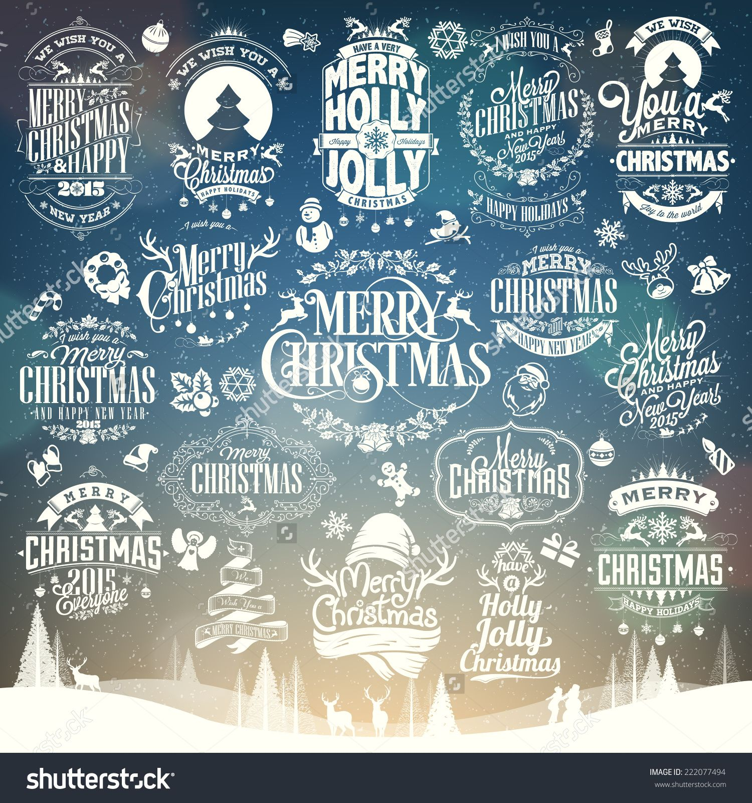 Hand Drawn Christmas And New Year Decoration Set Of Calligraphic And Typographic Design With Labels, Symbols And Icons Elements Stock Vector Illustration 222077494 : Shutterstock
