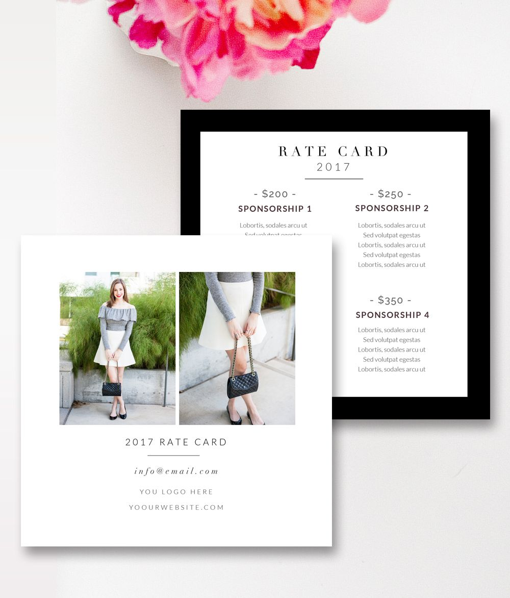 Fashion & Beauty Blogger Rate Card Template - MS Word & Photoshop ...