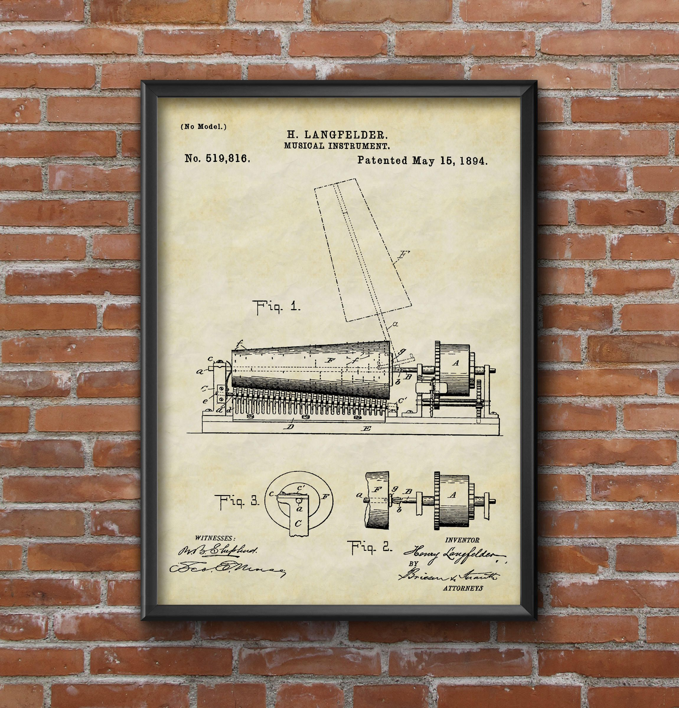 Patent art print patent poster musical instrument print music patent art print patent poster musical instrument print music instrument patent wall art print blueprint art patent wall art home decor malvernweather Image collections