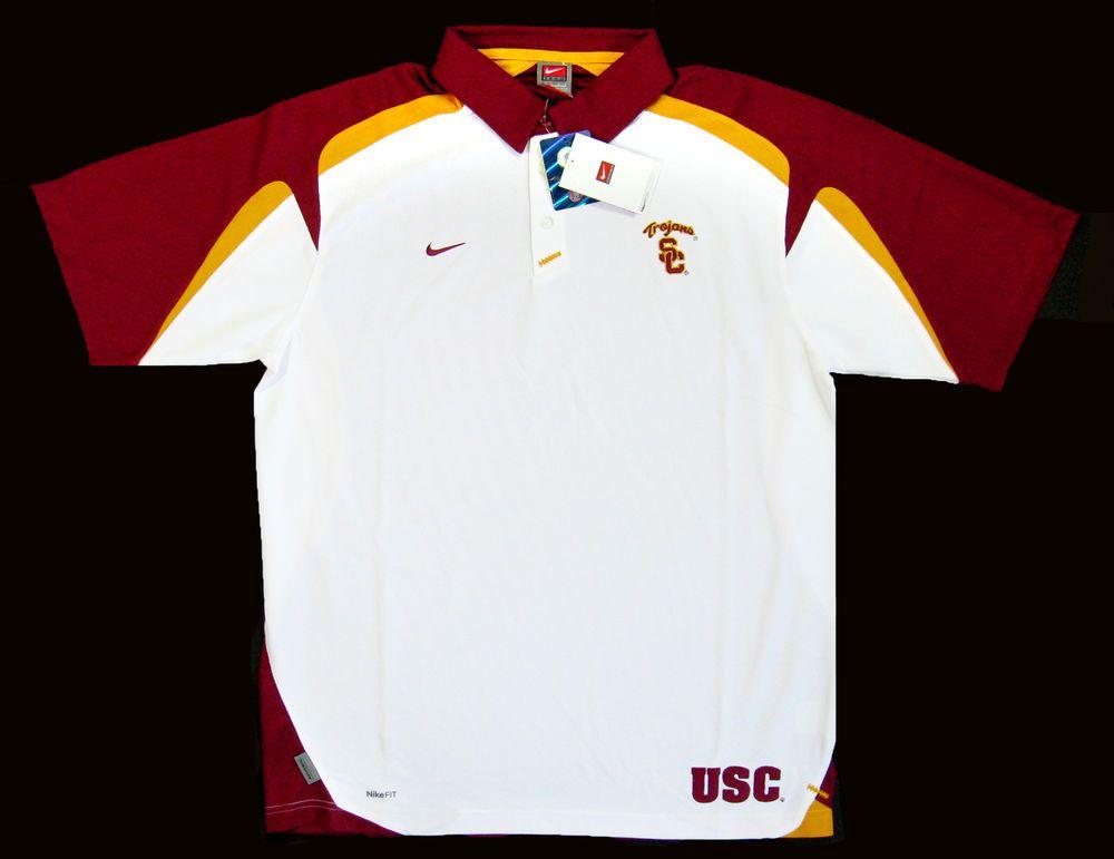 82bd36cd USC Trojans Men L NIKE Team Fit Dry S/S Football Polo Shirt NWT $60 Old  Stock #Nike #Endline #USCTrojans