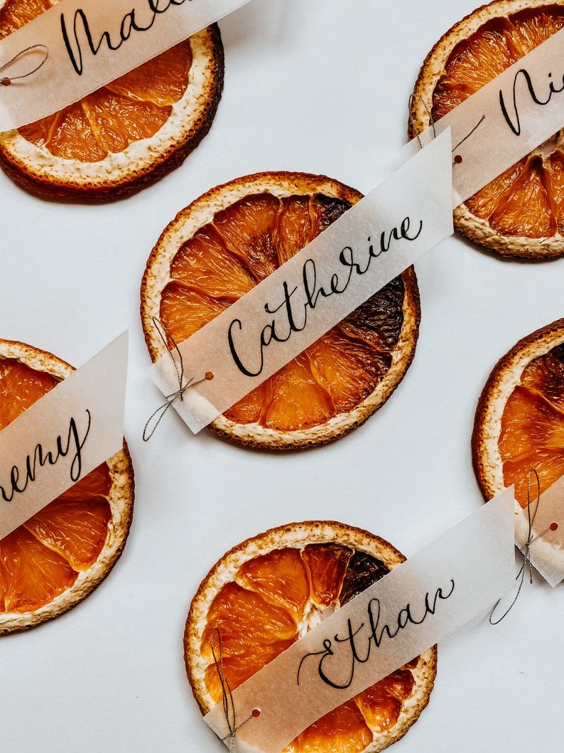 Dried orange vellum wedding place card; wedding calligraphy escort card, fruit place card