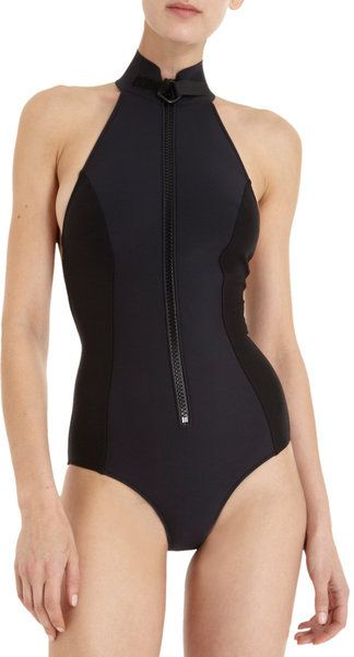 0753dde9fc030 Lisa Marie Fernandez One Piece black scuba style zippered swim suit ...