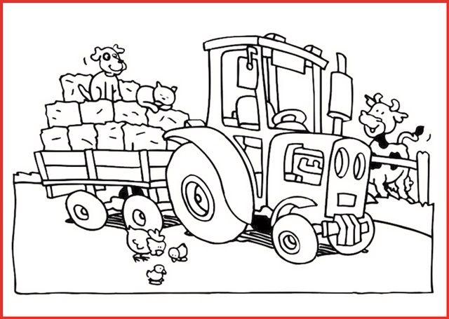 ausmalbild traktor mit anhänger 2 | invierno