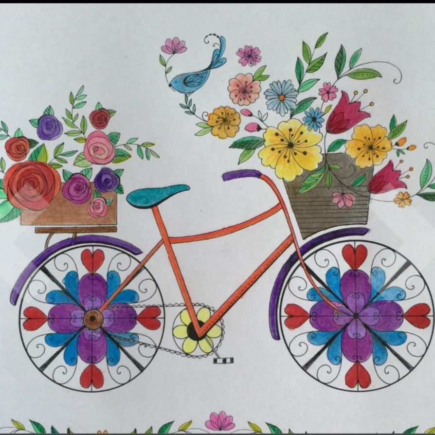 Coloring and drawing in 2018 pinterest toutes les fleurs fleurs and bicyclette - Coloriage velo fleur ...