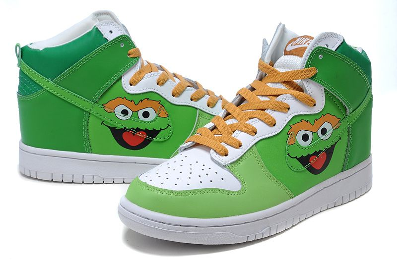 Original Cartoon Oscar The Grouch Nike Shoes Sesame Street high .