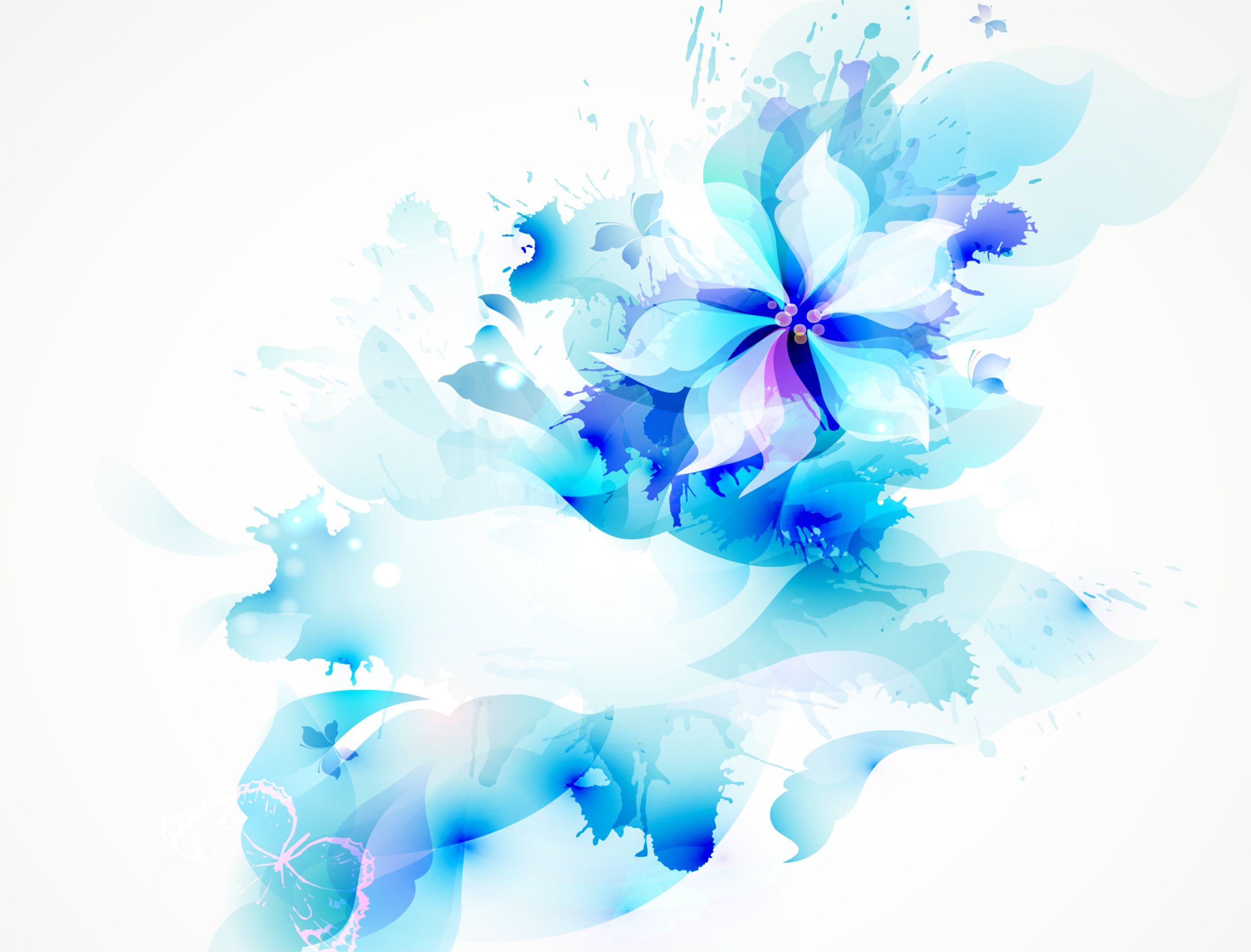Vector Blue Floral Watercolor Floral Watercolor Watercolor