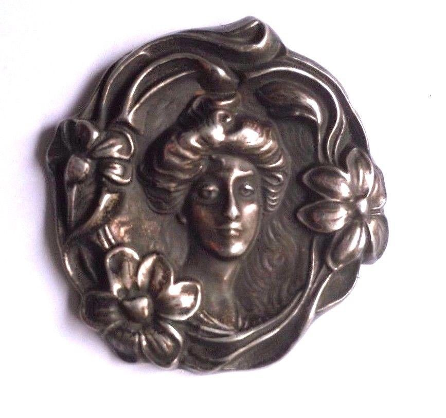 Antique Sterling Silver Cameo Lady Pendant Pin W Flowers