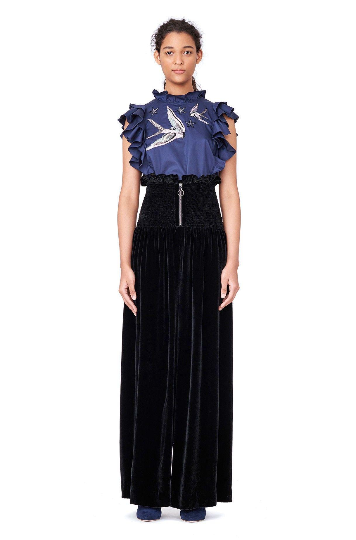 8740a8102fa REBECCA TAYLOR Smocked Velvet Wide Leg Pant - Black.  rebeccataylor  cloth