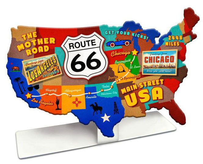 Vintage And Retro Tin Signs Jackandfriends Com Route 66 Usa Road Map Table