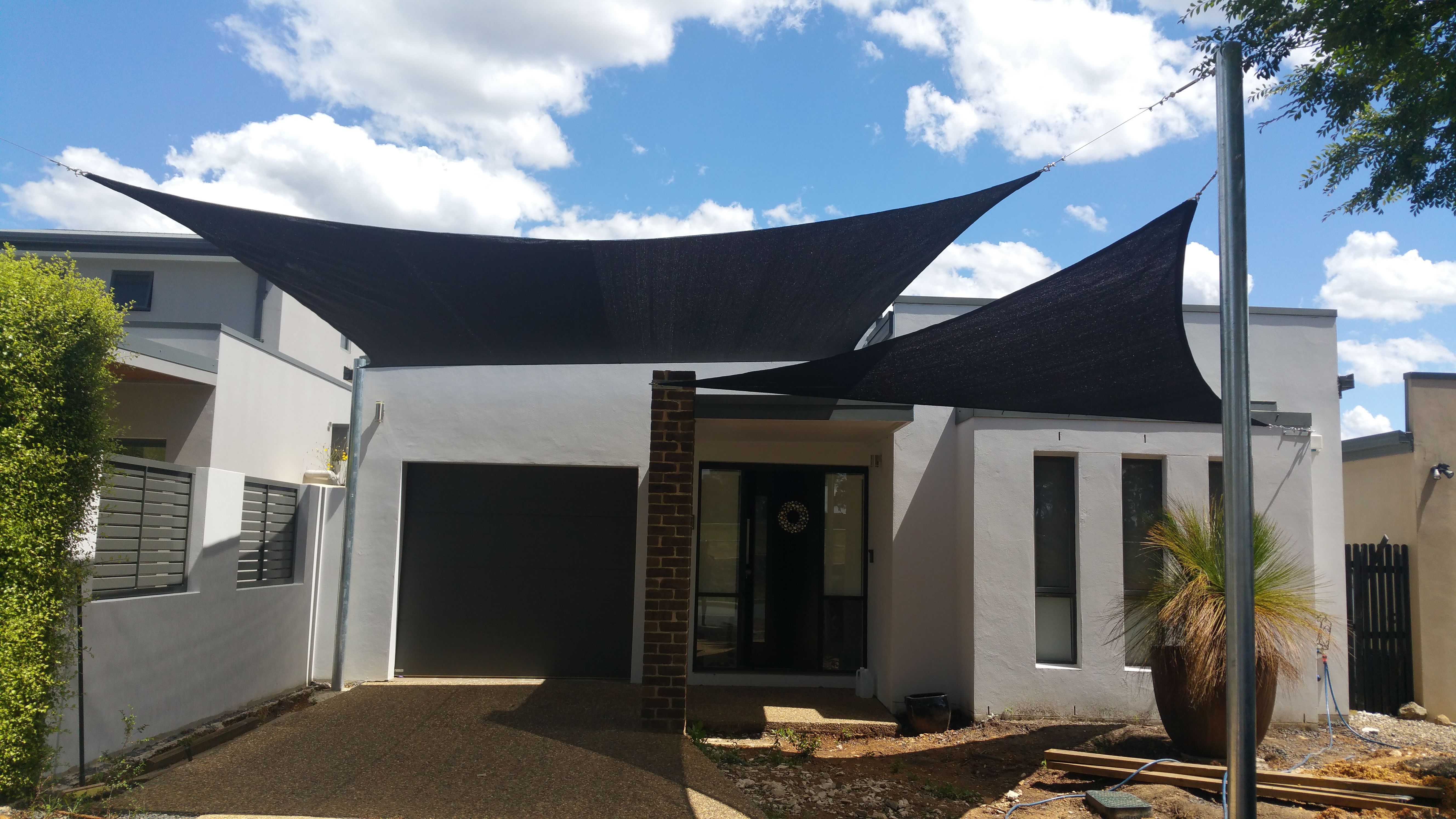 Rectangle 5mx6m And 5x5x5m Triangle Shady Lady Shade Sails Great Install By Our Customer Shade Sail Outdoor Decor Shady