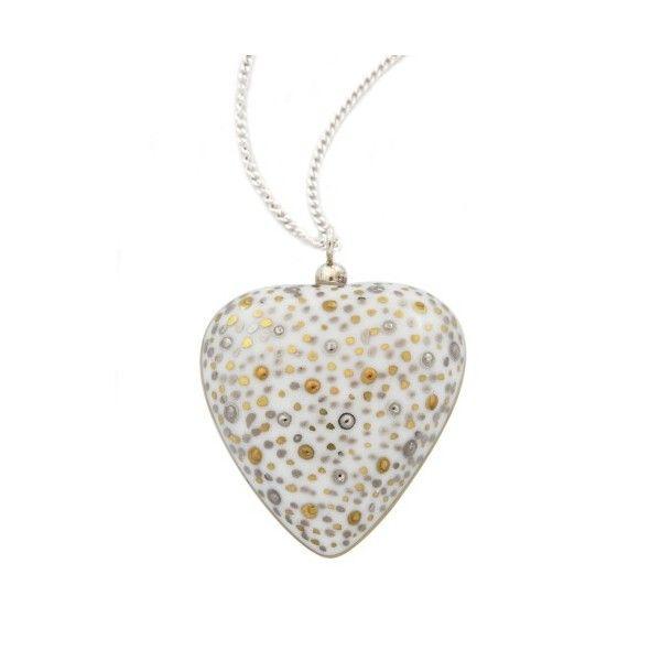 Gold and Platinium Heart Pendant Necklace. #giftforher #limogesporcelain #weddinganniversary #personalized #frenchporcelain #necklace #porcelaine