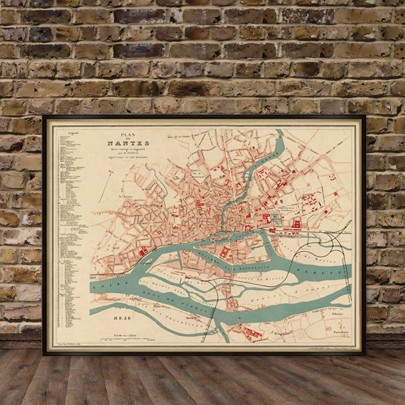 Map Of Nantes France Vintage Map Of Nantes Restored Old Map Of Nantes Print On Paper Or Canvas Vintage Map Old Map Nantes