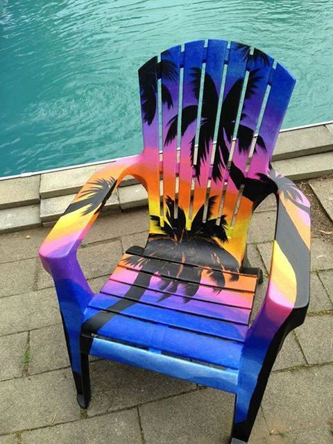 Awesome Palm Trees U0026 Sunset Painted Chair. Adirondack ...