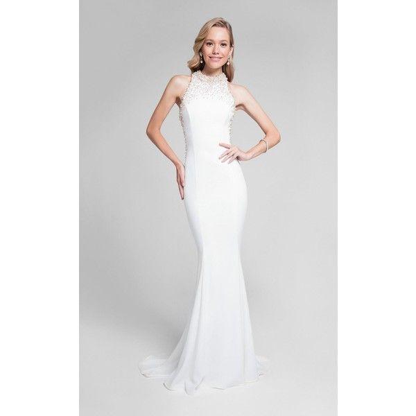 Terani 1712P2534 Evening Dress Long High Neckline Sleeveless (1.555 BRL) ❤ liked on Polyvore featuring dresses, formal dresses, white, mermaid prom dresses, white evening gowns, formal gowns, long gown and long prom dresses