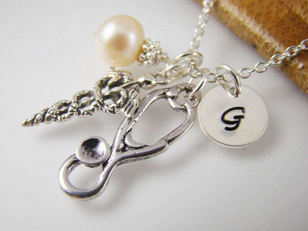 Personalized Medical Sign Necklace Stethoscope Charm Gift For Doctor