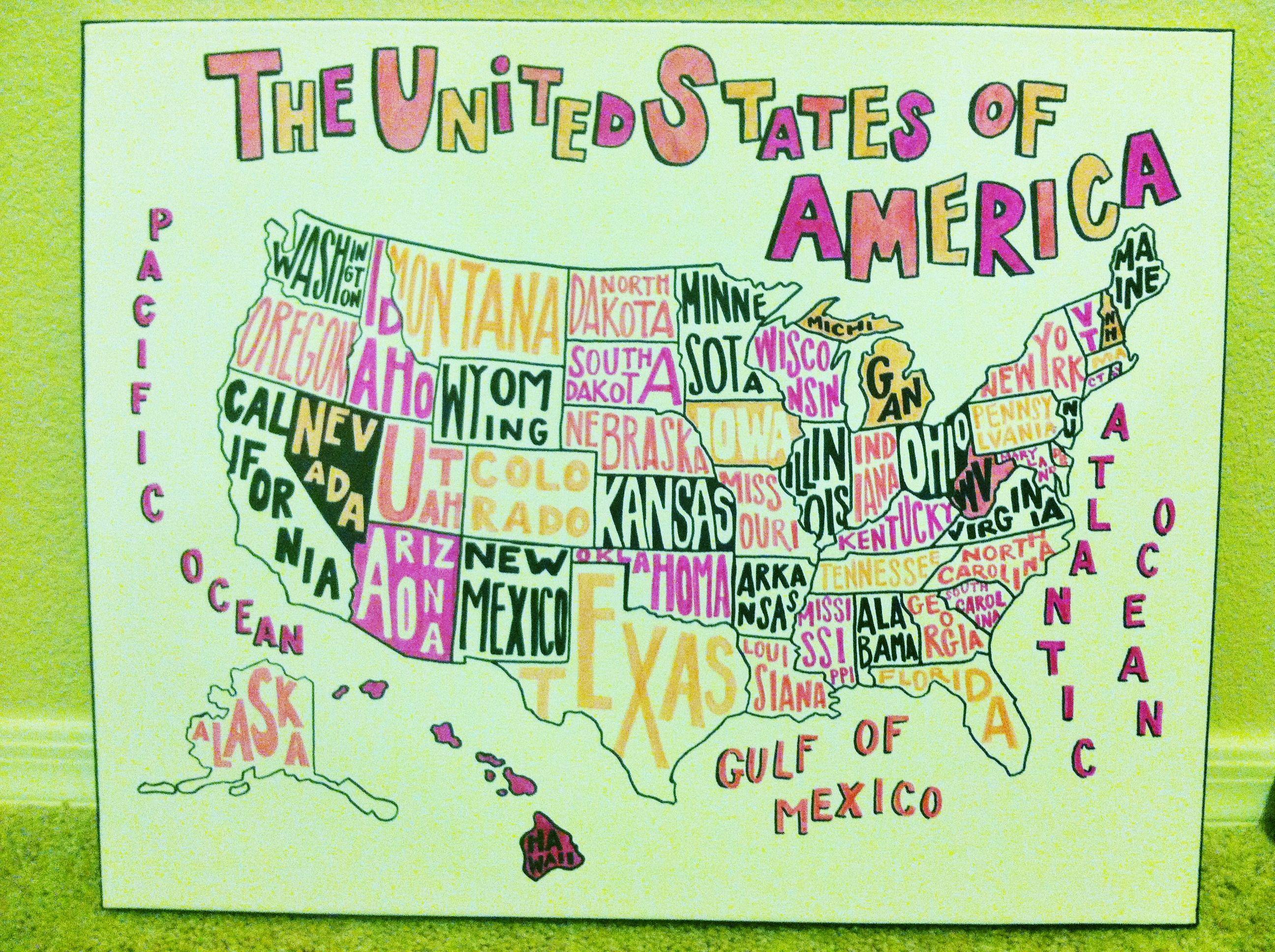 United States Hand Drawn Map Using Sharpies To Match Kids