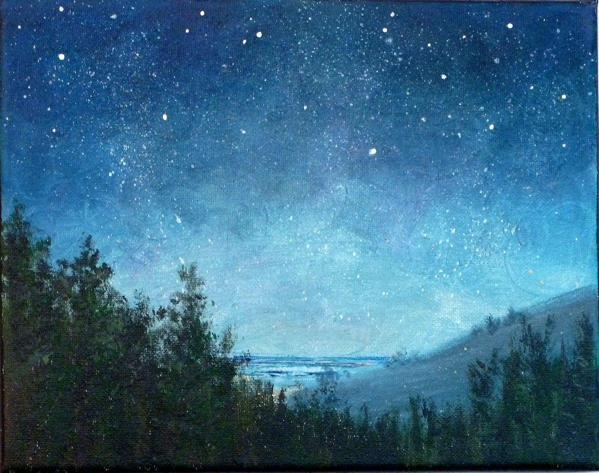 Night Sky Small Stars Landscape Painting 8x10 Astronomy Starry Night Night Sky Painting Landscape Paintings Acrylic Sky Painting