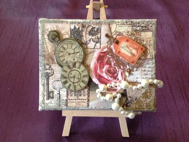 A Lady's Journal Canvas- An Altered Art, Assemblage, Mixed Media, Vintage Style Canvas