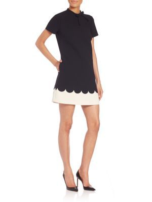 RED VALENTINO Scalloped-Trim Shift Dress. #redvalentino #cloth ...
