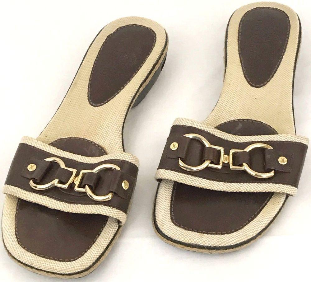 88f2d424871a Cole Haan Nike Air Womens Sandals Leather Horsebit Size 6 B Canvas  ColeHaan   Sandal