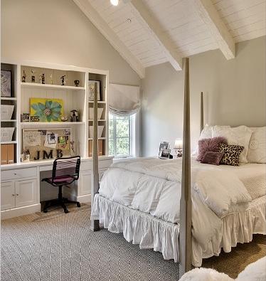white paneled beamed ceiling
