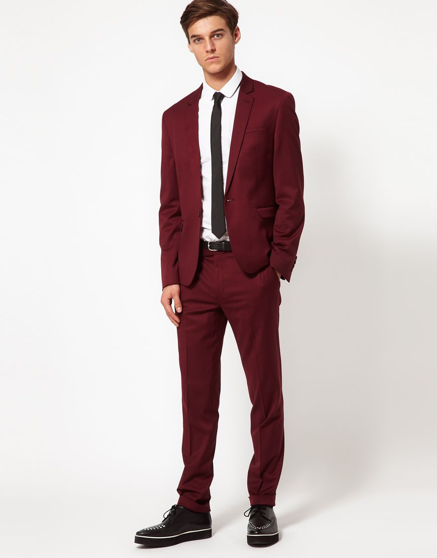 Burgundy Suit and slim black tie | ||Husband material ...