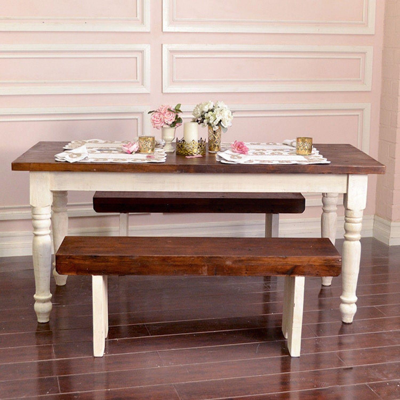 Bella French Farmhouse Petite Table In Antique White 895 00